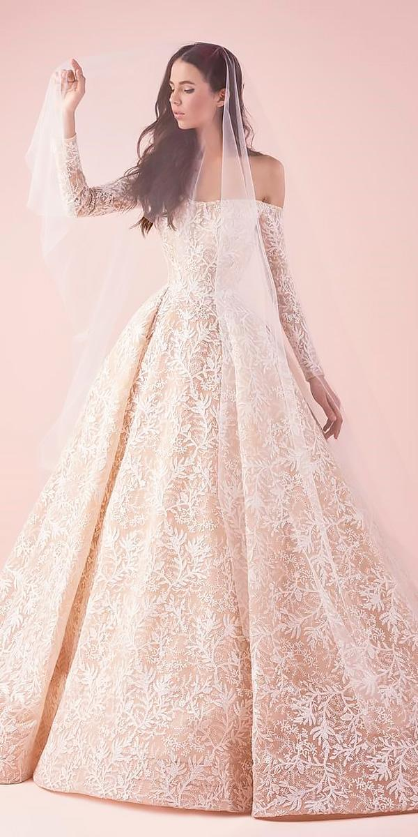 ball gown lace with long sleeves off the shoulder wedding dresses saiid kobeisy