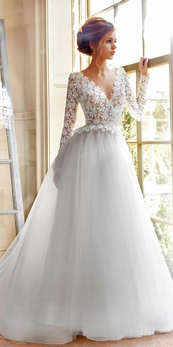 ball gown long sleeve lace with v neckline tara keely wedding dresses