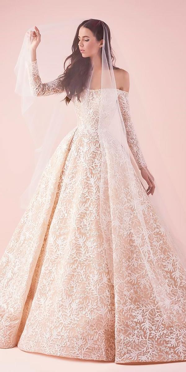 ball gown off the shoulder long sleeved wedding dresses saiid kobeisy