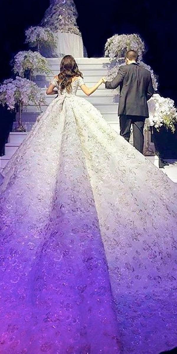 ball gown princess lace off the shoulder with short sleeves with train wedding dresses rami kadi