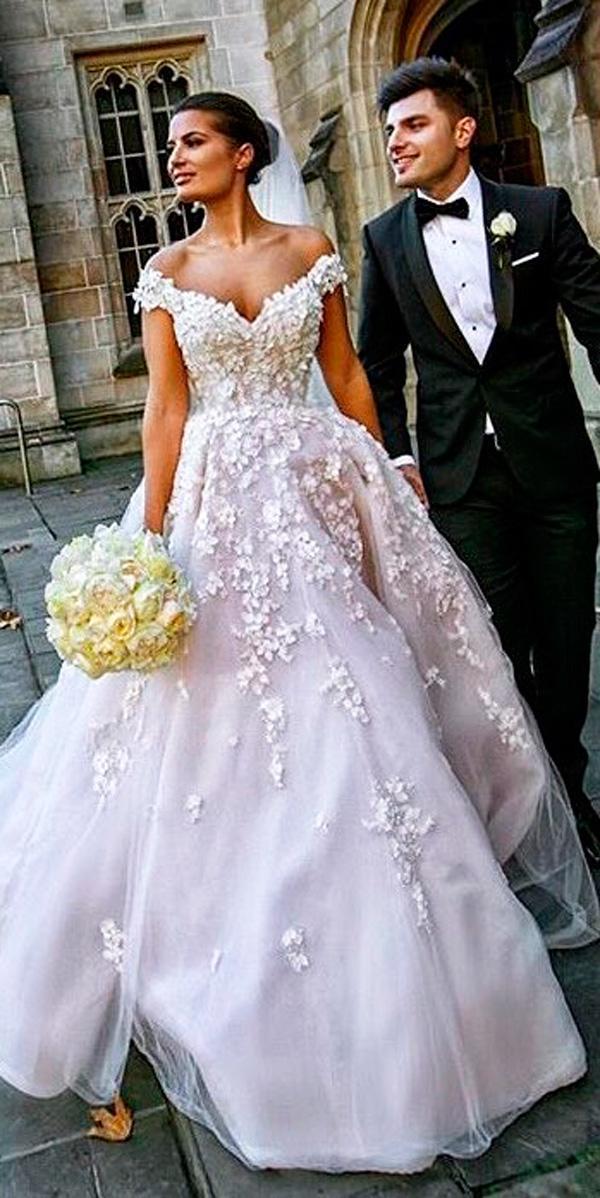 ball gown sweetheart neck blush off the shoulder wedding dresses steven khalil