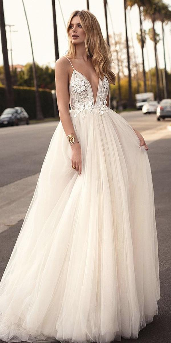 ball gown wedding dresses ivory spaghetti straps deep plunge v neck lace berta
