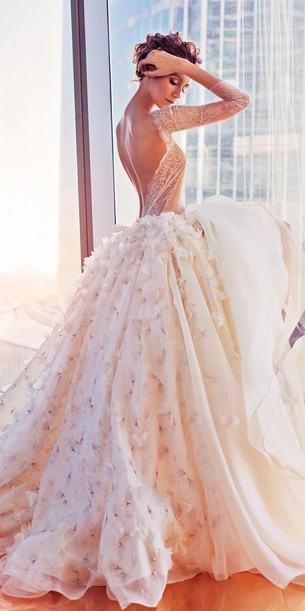 ball gown wedding dresses low back floral bling long sleeve katesofficial
