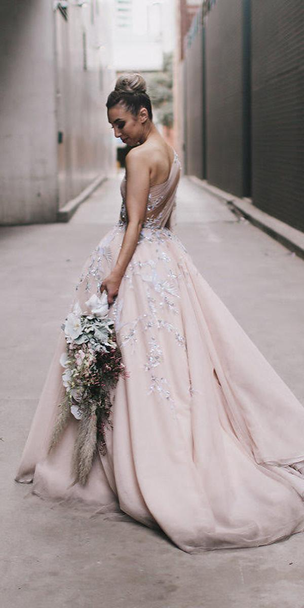 ball gown wedding dresses one shoulder silver beaded paolo sebastian