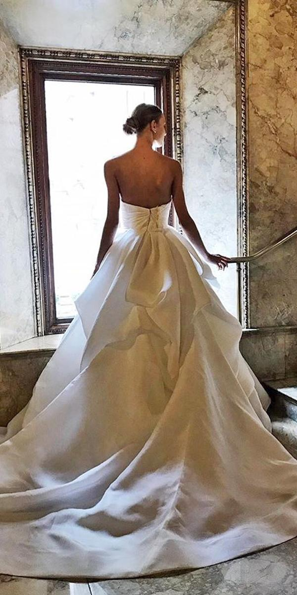 ball gown wedding dresses simple strapless modern clean moniquelhuillier