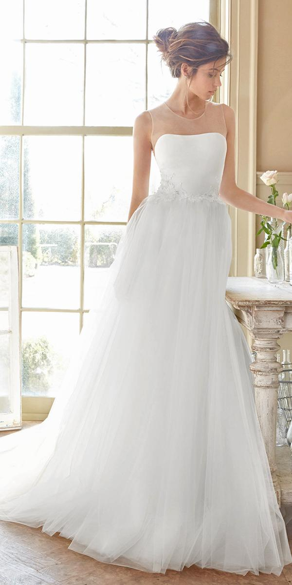ball gown with curve illusion neckline and lace appliques tara keely wedding dresses