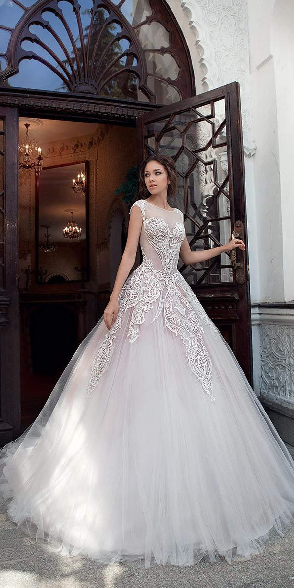 ball gown wit illusion sweetheart and embroidered lace and train milva wedding dresses
