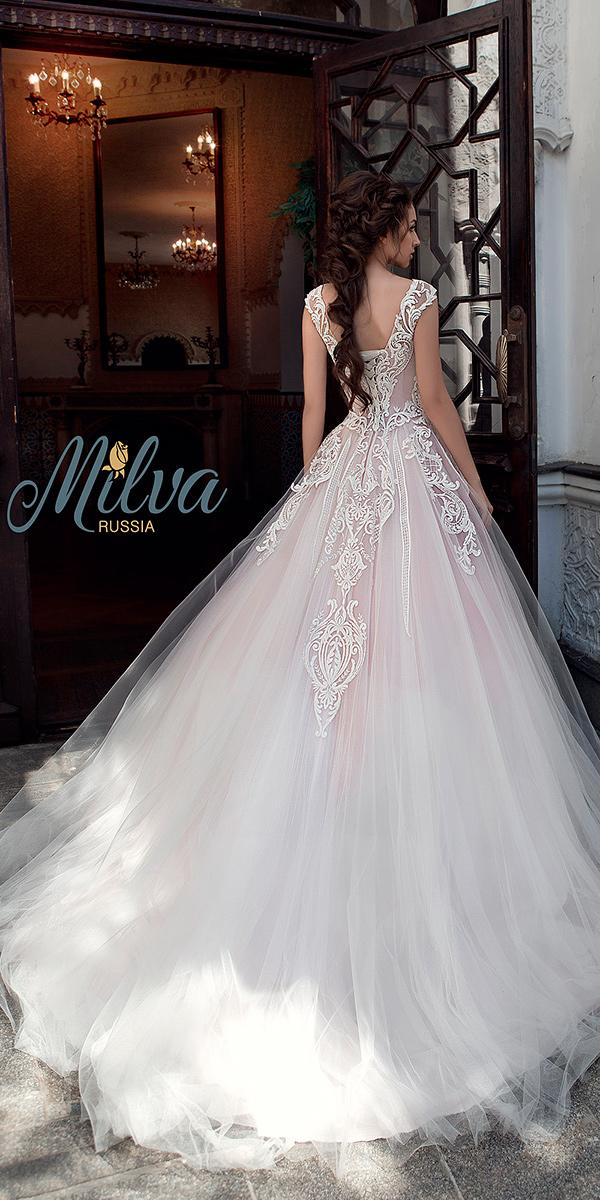 ball gown with lace and illusion sweetheart and shot sleeves and train milva wedding dresses