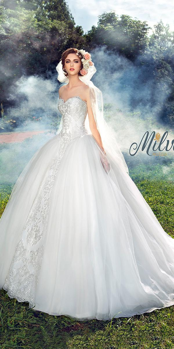 ball gown with strepless sweetheart and embroidered lace milva wedding dresses