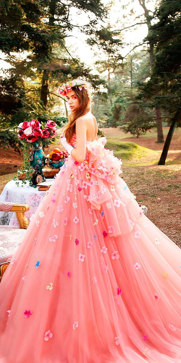 ball gown strapless neck floral with bow pink wedding dresses tiglily