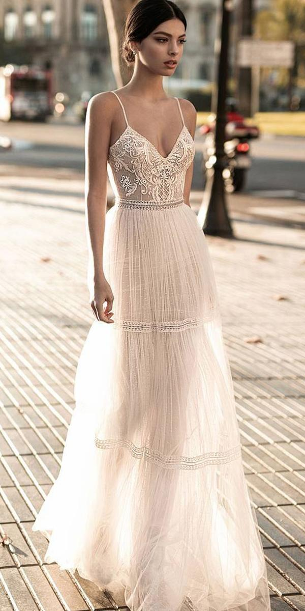 beach embroidered lace top a line spaghetti straps gali karten wedding dresses