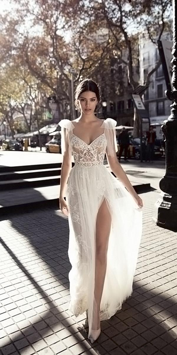 beach lace top a line spaghetti straps with slit gali karten wedding dresses
