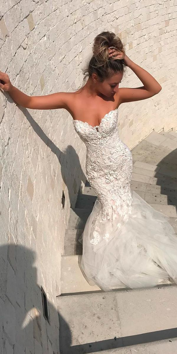 beaded lace mermaid with sweetheart and train enzoani wedding dresses