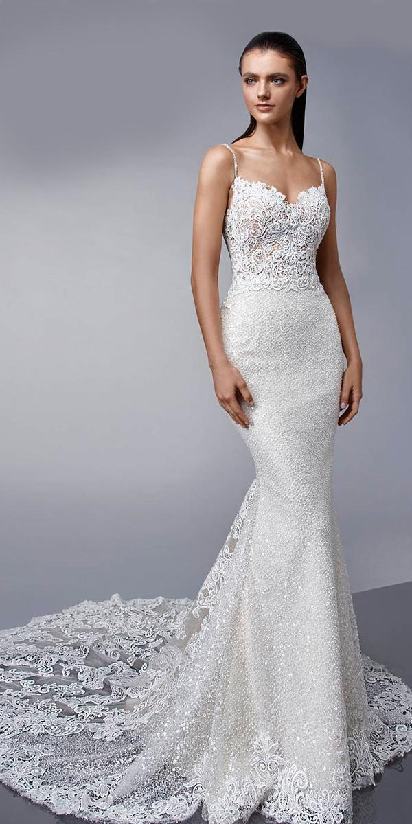 vintage beaded lace sheath with spaghetti sweetheart and train enzoani wedding dresses