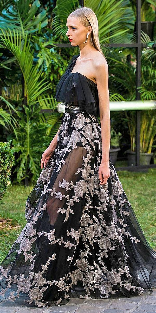 black wedding dresses a line gown asymetrics floral appliques galialahav
