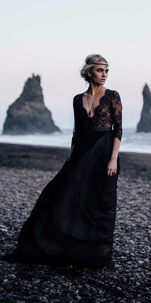 black wedding dresses a line gown deep v neckline with sleeves cathy telle