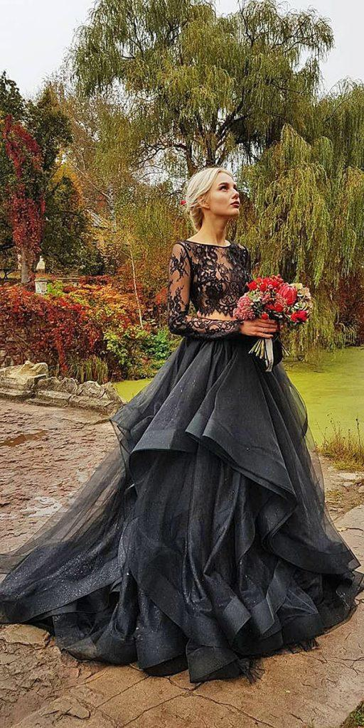 black wedding dresses a line gown gothic lace with sleeves espana via instagram