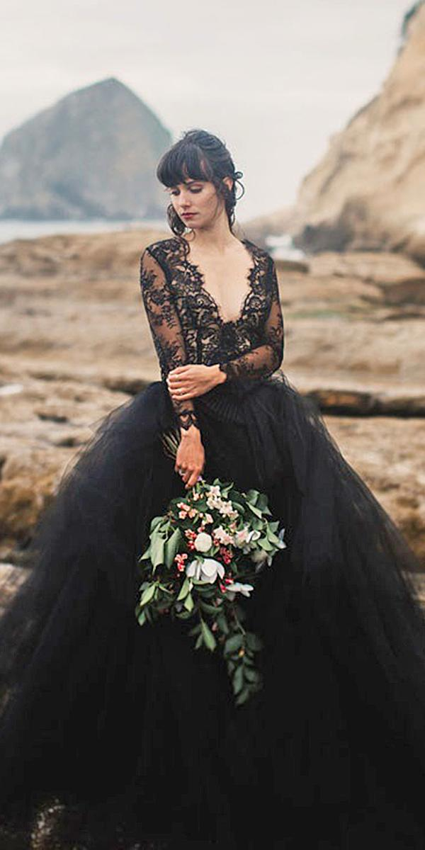 black wedding dresses ball gown long sleeves deep v necklines mari sabra photography