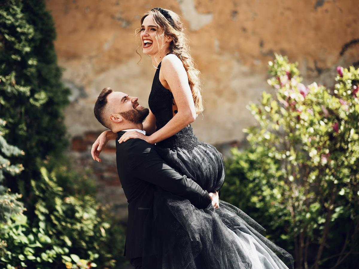 black wedding dresses featured