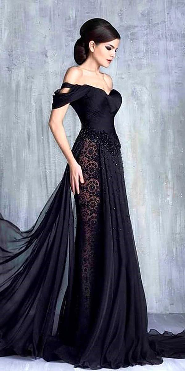black wedding dresses gothic off shoulder sheath gown tony chaaya official