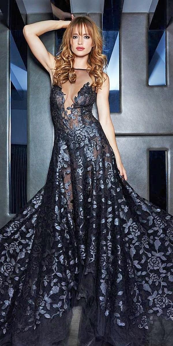 black wedding dresses illusion necklines a line gown galialahav