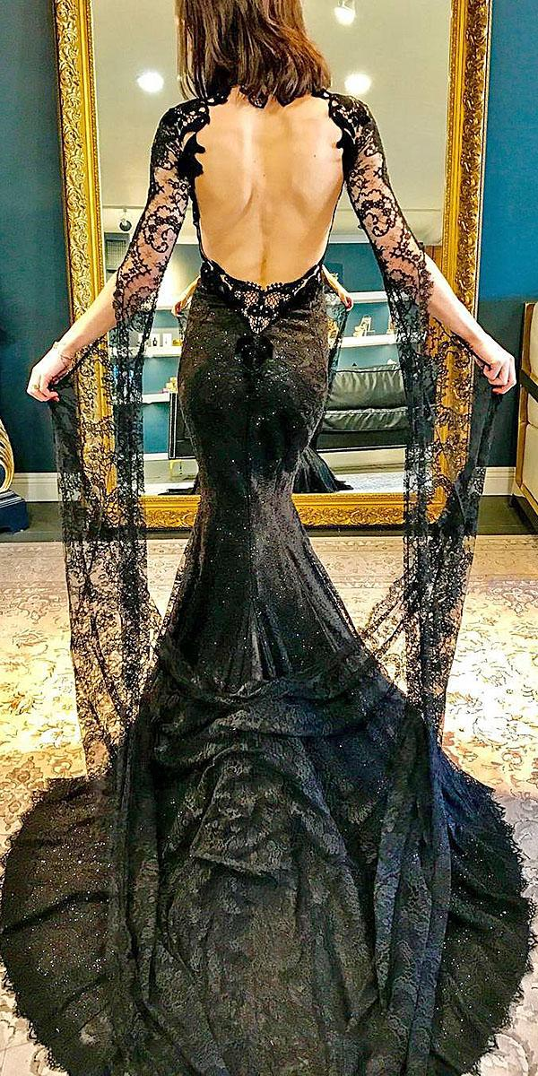 black dresses mermaid long sleeves open back galialahav