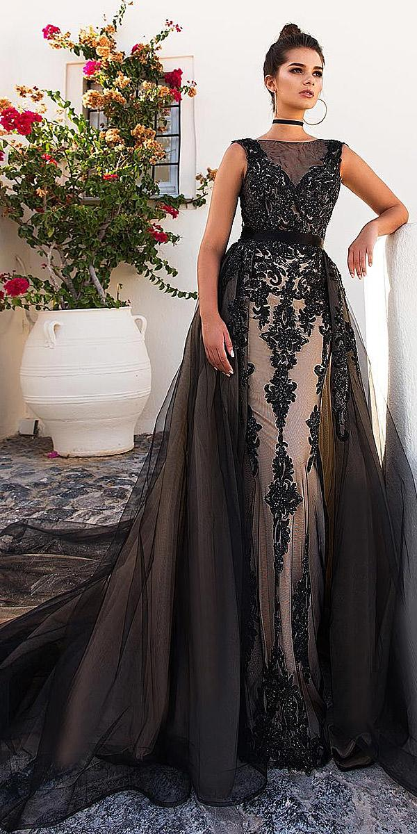 black wedding dresses mermaid square illusion crystal design