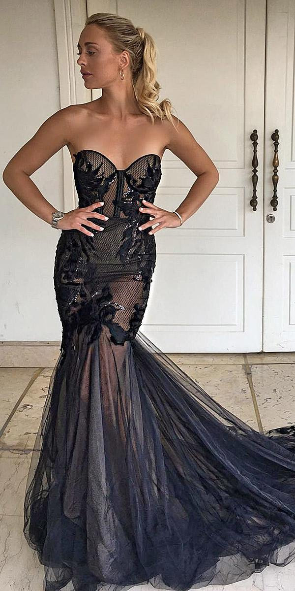 black wedding dresses mermaid sweetheart lace bodice berta