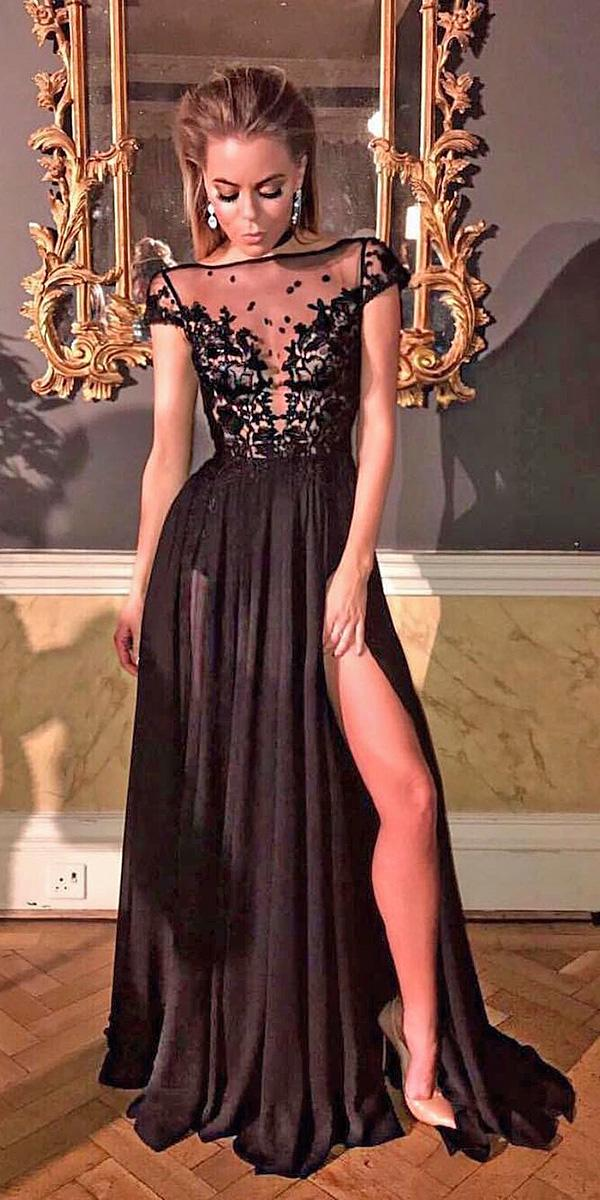 black wedding dresses off shoulder illusion a line gown berta
