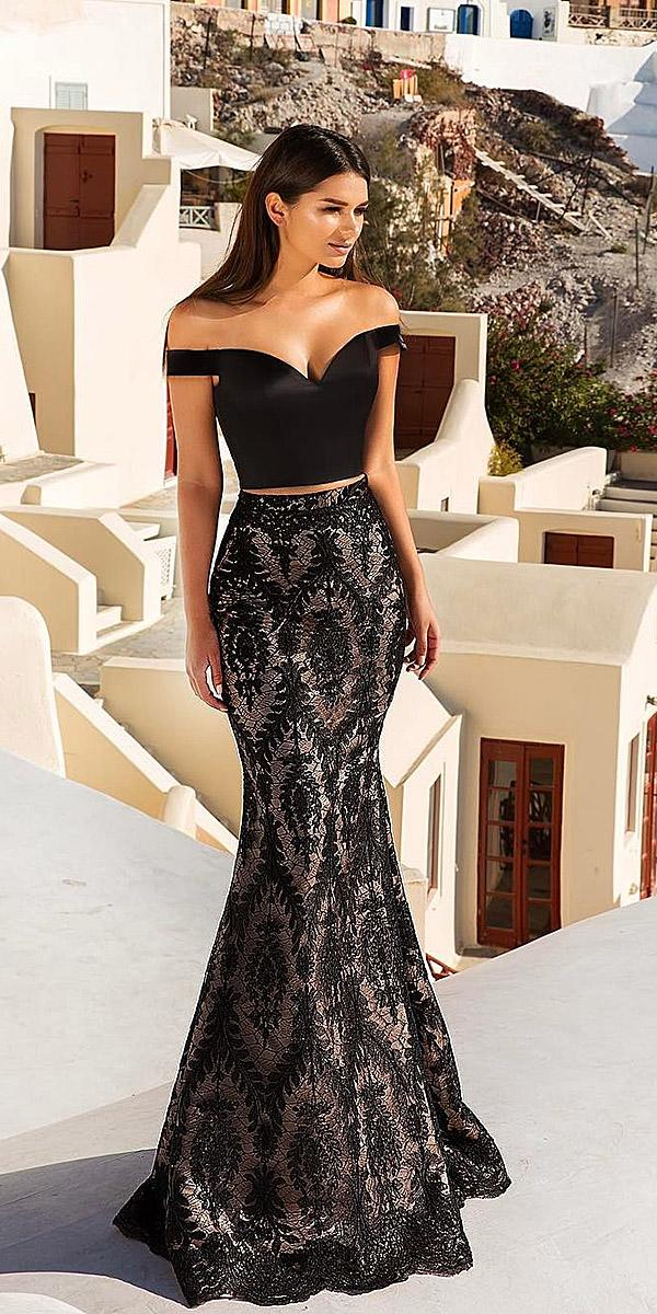 black wedding dresses off shoulder mermaid detachable skirt crystal design