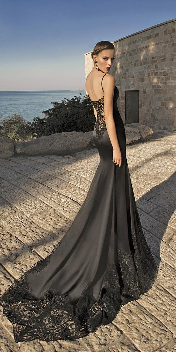 black wedding dresses trumpel open back lace galia lahav