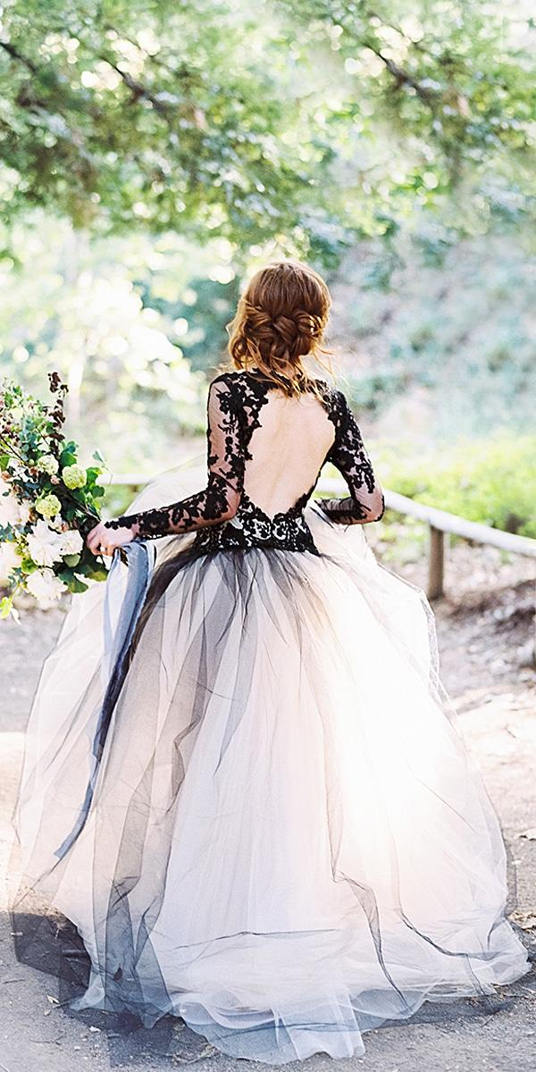 black-wedding-dresses-with-black sleeves open back tulle skirt photo by luna de mare