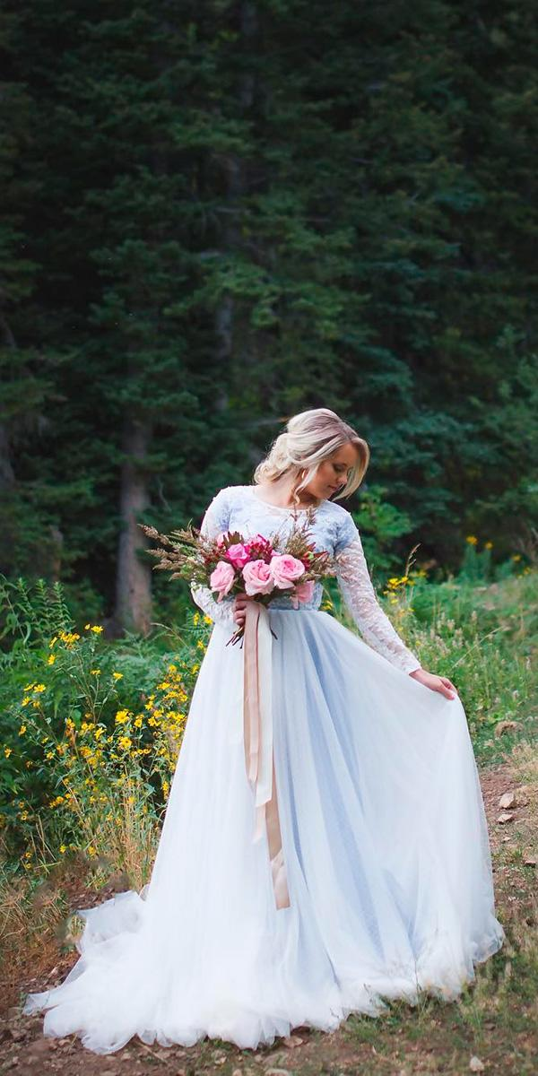 blue sheath with jewel lace top and long sleeves and train elizabeth cooper wedding dresses