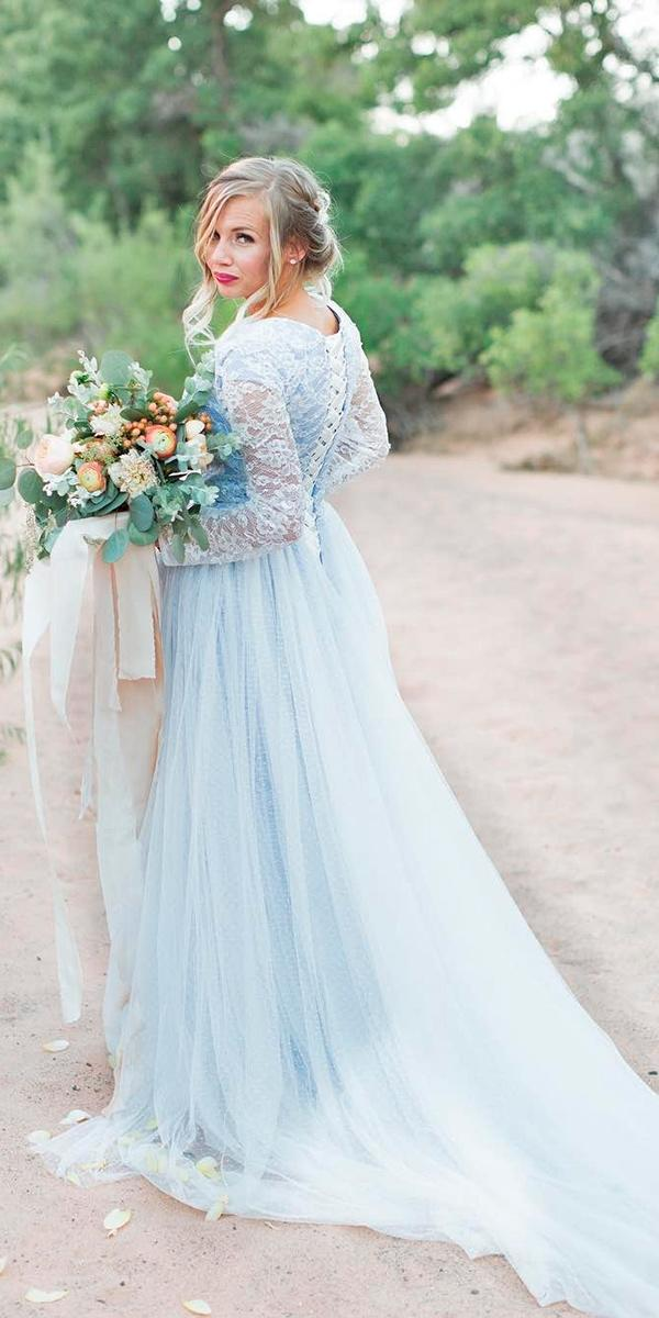 blue sheath with lace up back and long sleeves and train elizabeth cooper wedding dresses