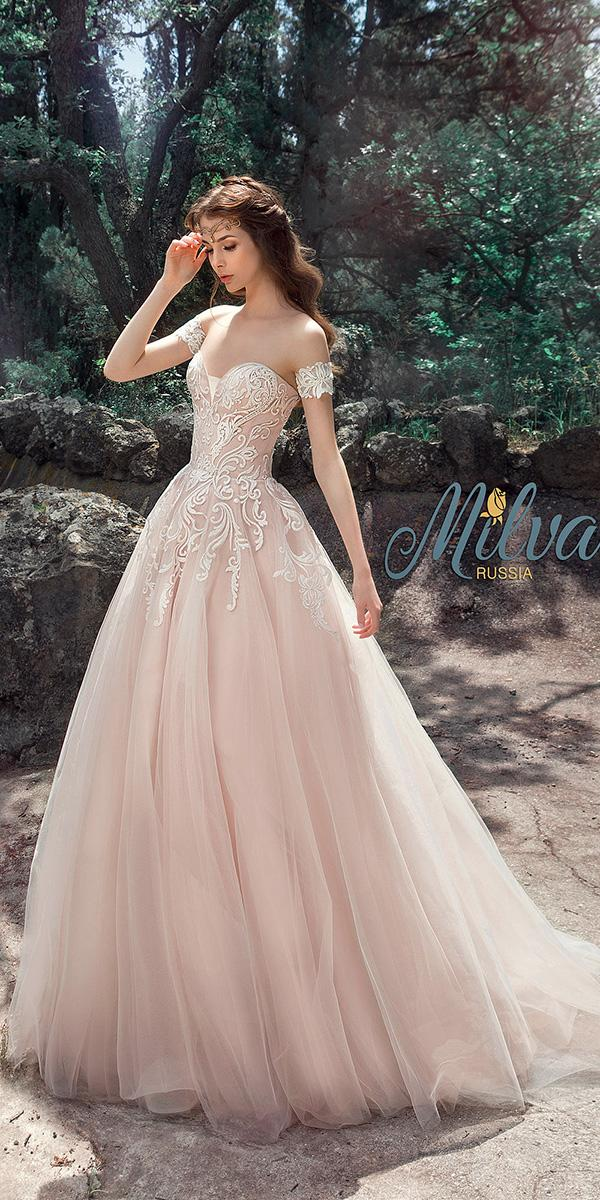 blush a line with embroidered lace strapless sweetheart milva wedding dresses