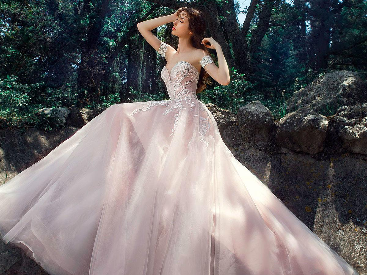blush a line with embroidered lace sweetheart milva wedding dresses