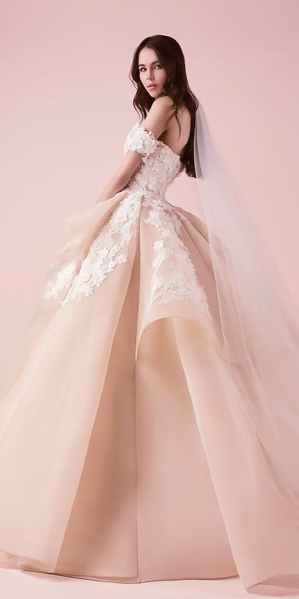 blush ball gown floral off the shoulder wedding dresses saiid kobeisy