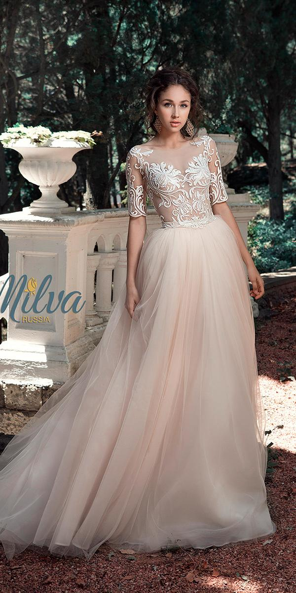 blush ball gown lace top with tattoo effect and train milva wedding dresses
