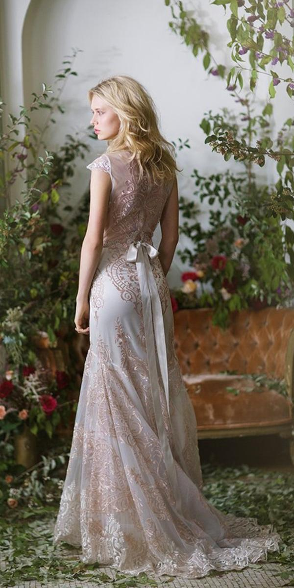 vintage blush lace sheath wedding dresses with train claire pettibone