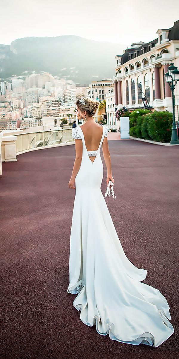 cap sleeves open low v back backless simple sheath wedding dresses alessandra rinaudo