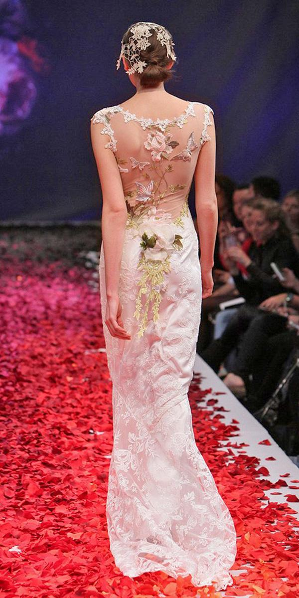 color sheath wi floral details and scoop neckline and train claire pettibone wedding dresses