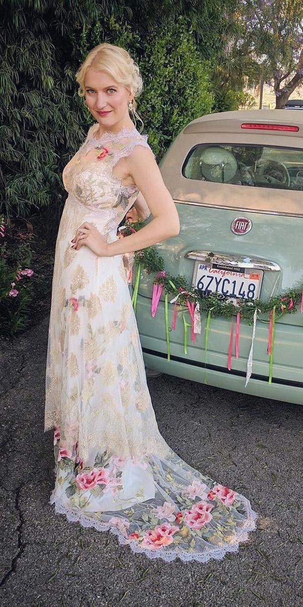 color sheat with floral details and train claire pettibone wedding dresses