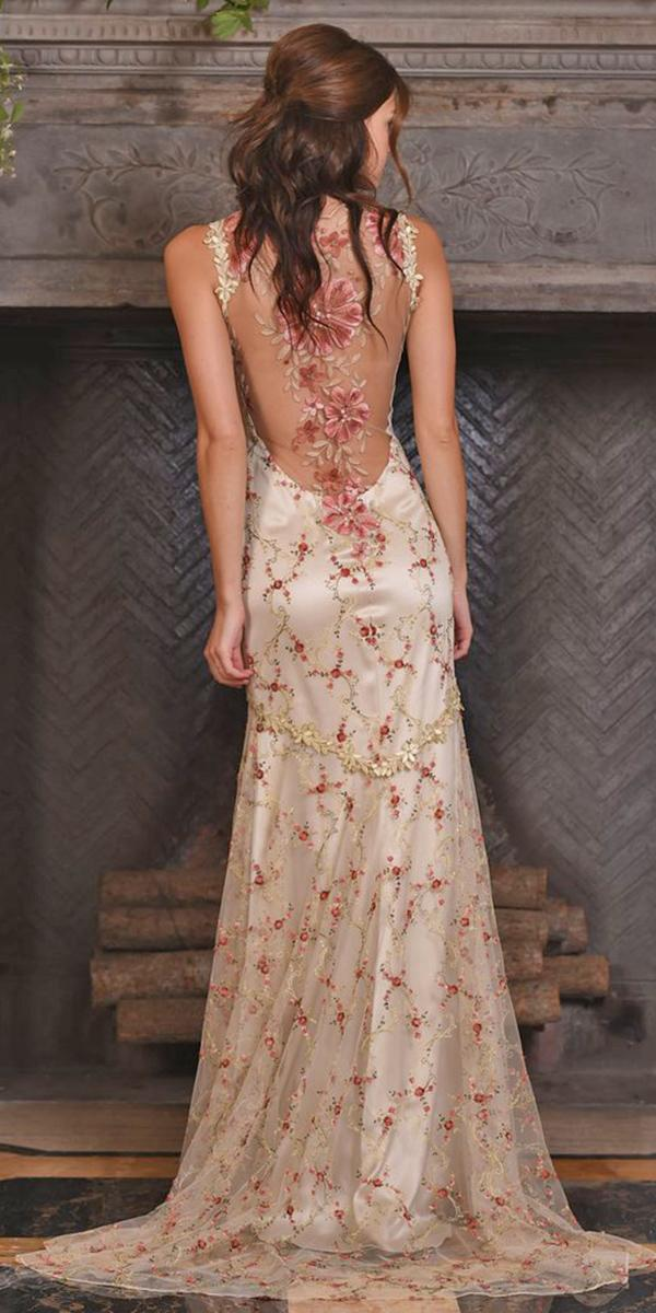 color sheath with floral details tattoo effect and train clairem pettibone weddin dresses