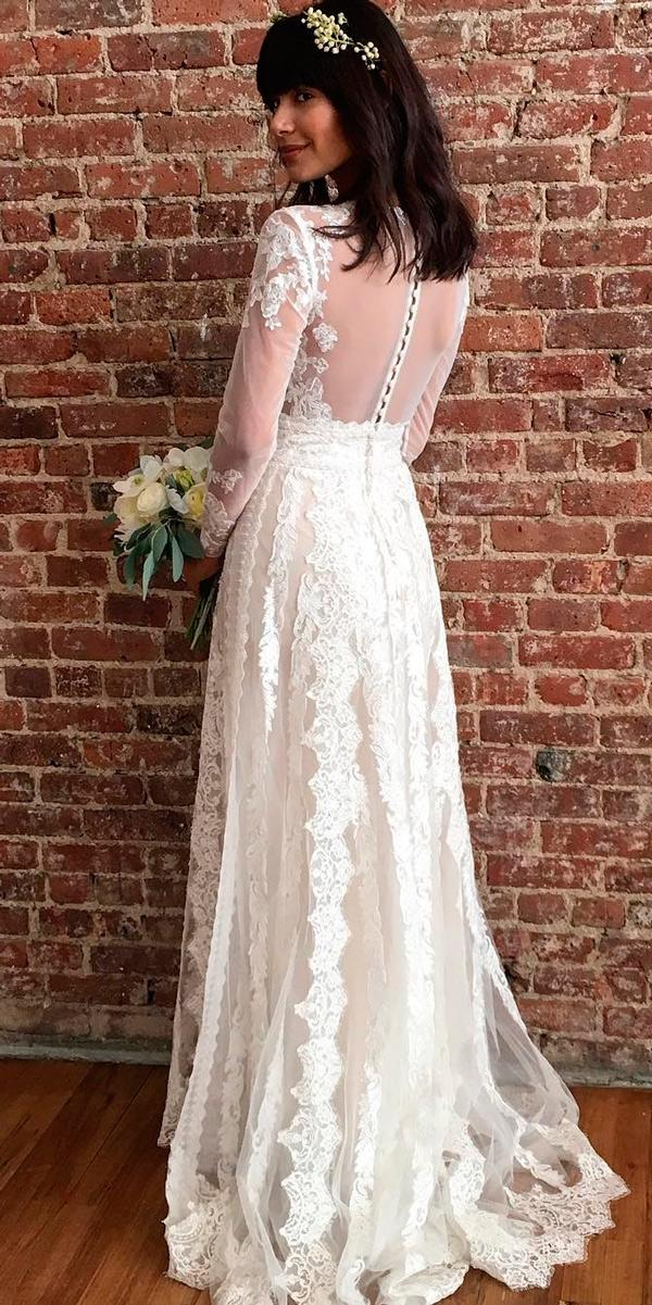 country vintage lace wedding dresses straight illusion back long sleeves melissa sweet bridal