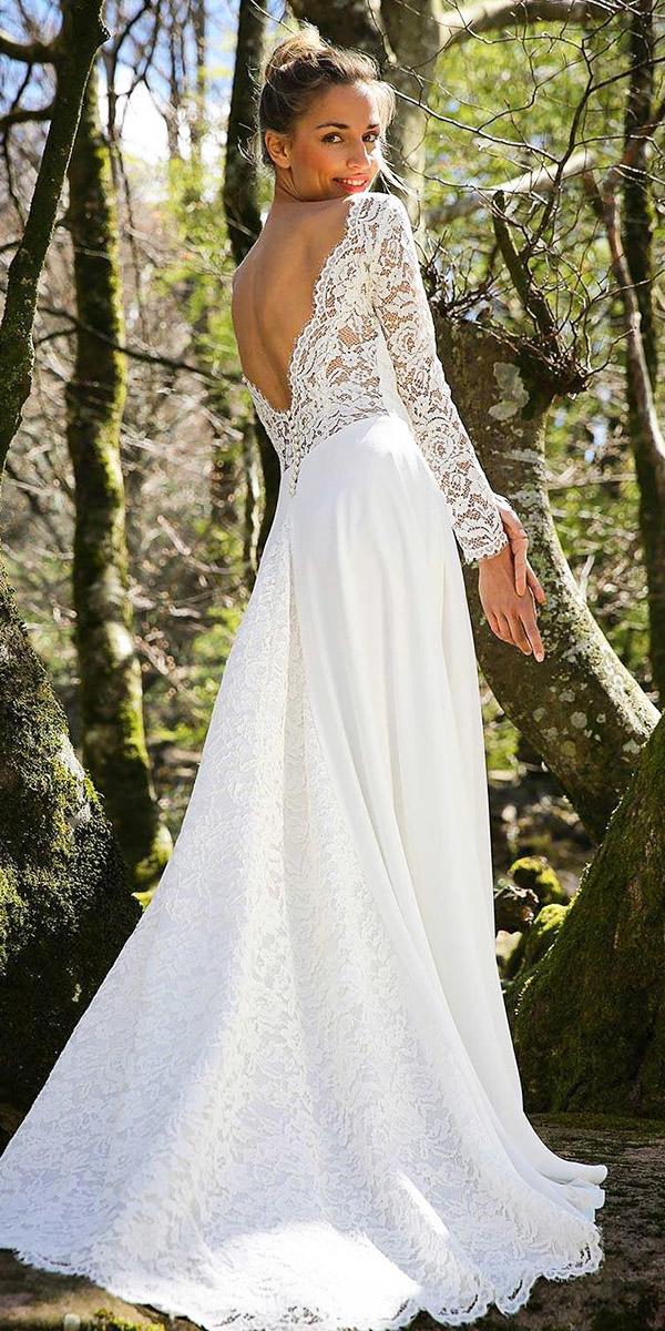 country wedding dressesa line v back with sleeves lace embellishment marie laporte creatrice
