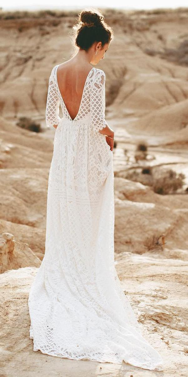 country wedding dresses back with sleeves lace floral embroidered light and lace couture