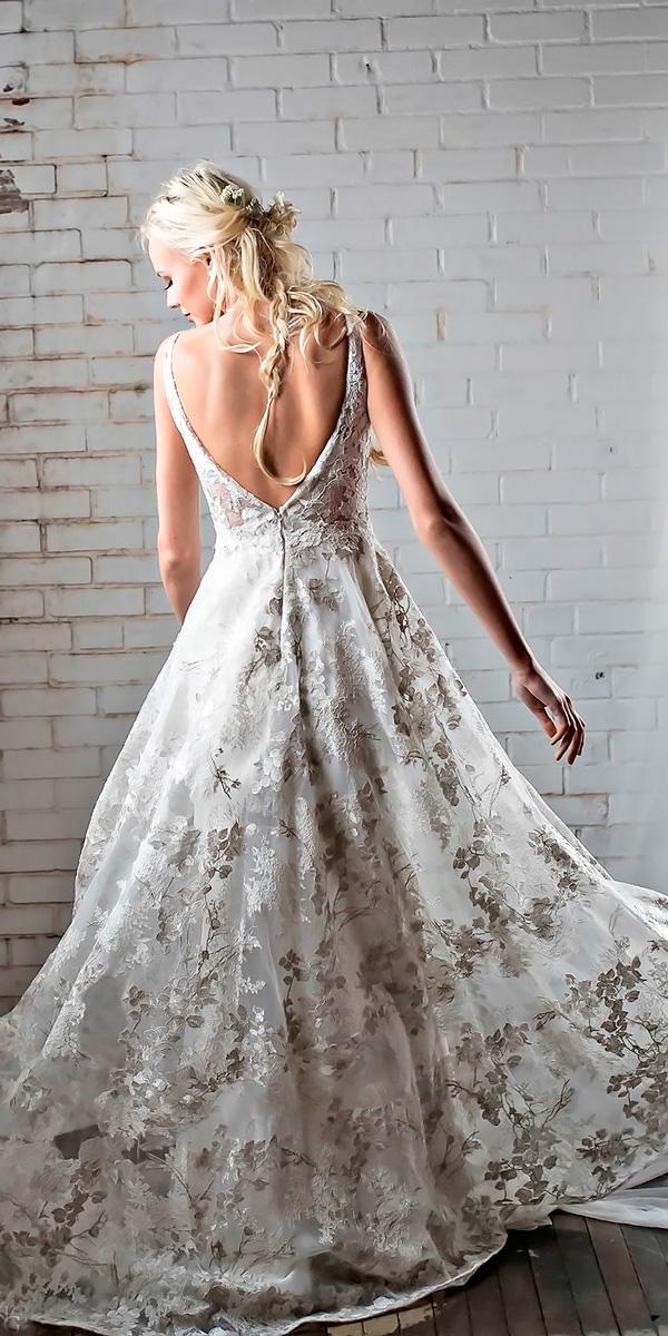 country wedding dresses sleeveless boat neckline a line open v back barbara kavchok