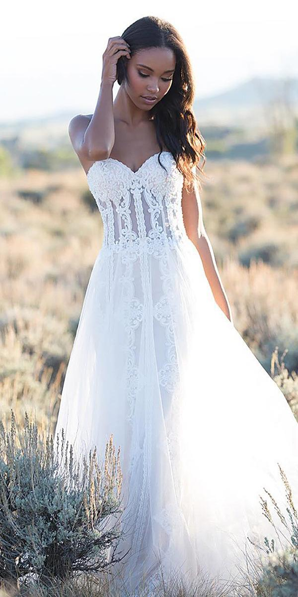 country wedding dresses sweetheart lace embroidered light allure bridals