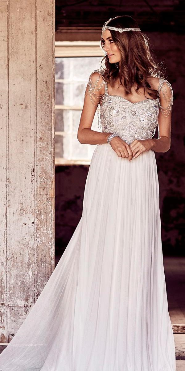 country wedding dresses vintage a line jeweled sleeves strap sweetheart neckline heavily beaded anna campbell