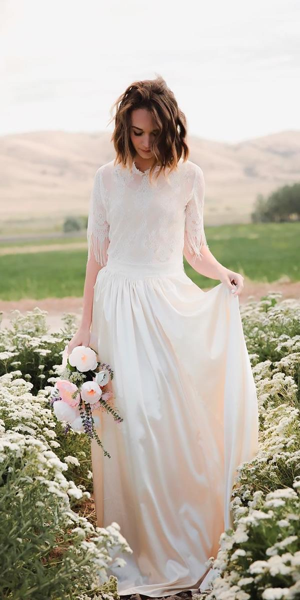 country wedding dresses vintage straight lace high neckline with sleeves jnoelle design